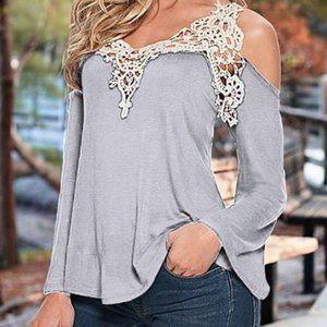 Gray Blouse off the shoulder